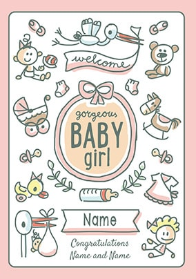 Babette - Welcome Baby Girl Personalised Card