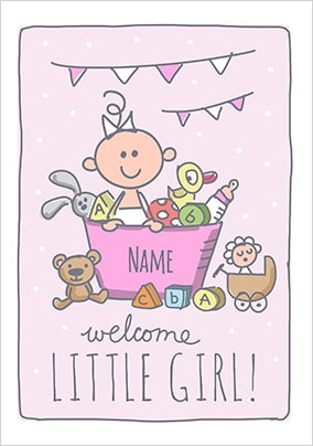 Babette - Welcome Little Girl Personalised Card