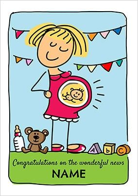 Babette - Congratulations Pregnancy Personalised Card