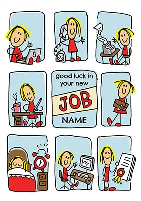 Babette - New Job Female Personalised Card