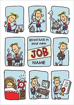 Babette - New Job Male Personalised Card
