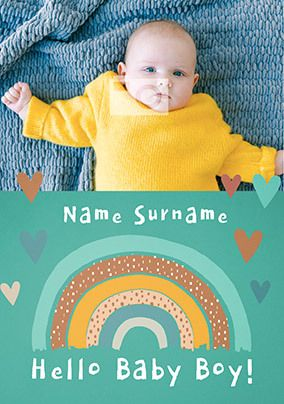 Hello Baby Boy Rainbow Photo Card