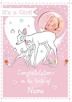 Disney Bambi New Baby Girl Card