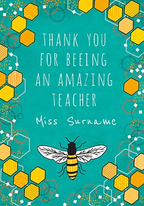 Beeing An Amazing Teacher Personalised Card