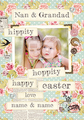 Collecting Happiness Easter Photo Upload Card - Grandparents