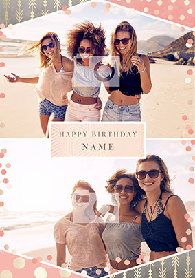 Happy Birthday 2 photo personalised Card