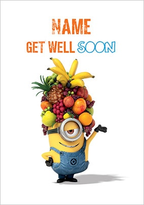 Minion With Fruit Hat Get Well Soon Card