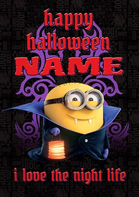 Happy Halloween Vampire Minion Personalised Card