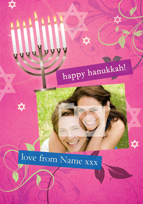 Happy Hanukkah - Pink Menora Photo
