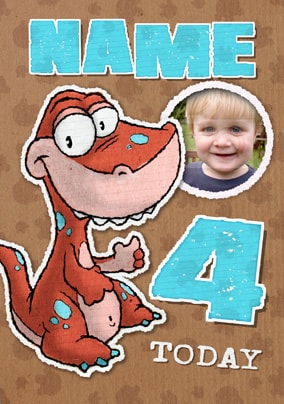 Doodles Dinosaur Age 4 Personalised Card