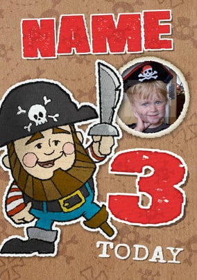 Doodles Pirate Age 3 Personalised Card