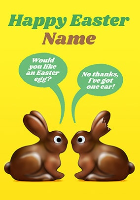 Happy Easter Chocolate Rabbits Personalised Card