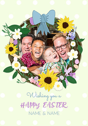 Happy Easter Wreath Photo Card