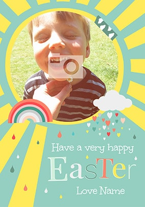 A Very Happy Easter Blue Photo Card