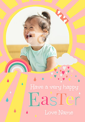 A Very Happy Easter Pink Photo Card