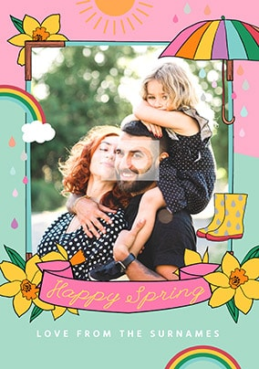 Happy Spring Family Photo Card