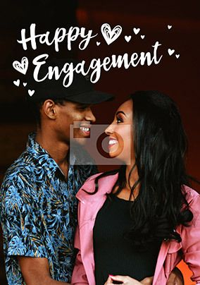 Happy Engagement Photo Upload Card