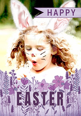 Happy Easter Flowers Photo Card