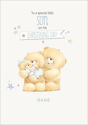 Forever Friends Son Christening Card