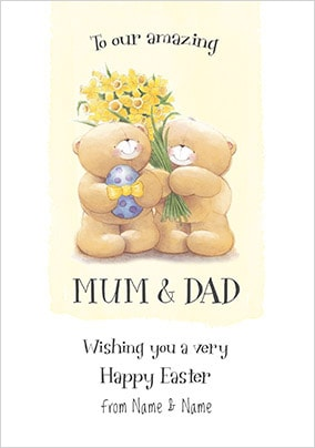 Mum and Dad Forever Friends Easter Card