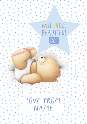 Forever Friends New Baby Boy Card