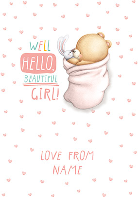 Forever Friends New Baby Girl Card
