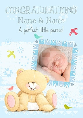 Forever Friends - New Baby Boy Photo Card