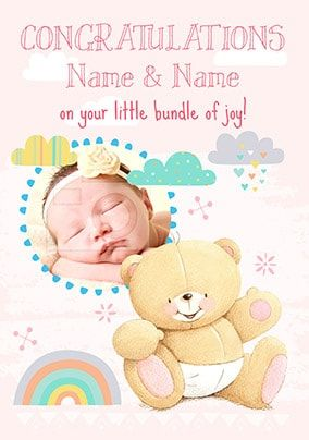Forever Friends - New Baby Girl Photo Card