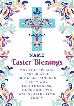 Folklore Easter Blessings Card - Cross