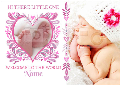Folklore - New Baby Card Welcome to the World Photo Upload