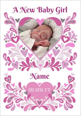 Folklore - New Baby Card New Baby Girl Photo Upload