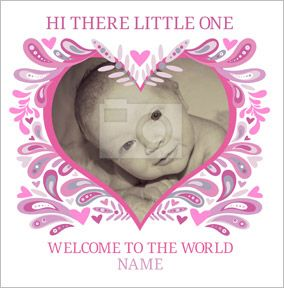 Folklore - New Baby Card Girl Heart Photo Upload