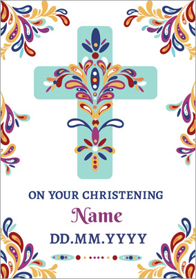 Folklore - Christening Card Cross