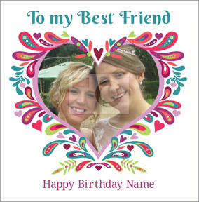 Folklore - Best Friends Card Photo Upload Heart