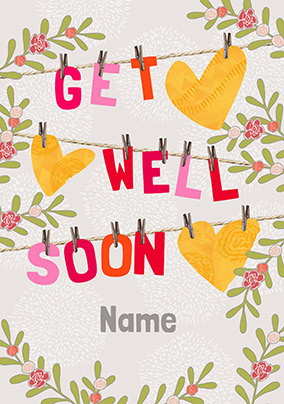 Get Well Soon Washing Line Personalised Card