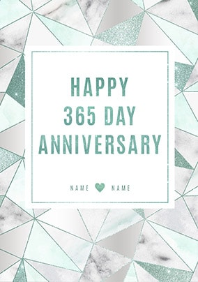 Happy 365 Day Anniversary First Anniversary Card