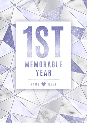 1st Memorable Year Anniversary Card