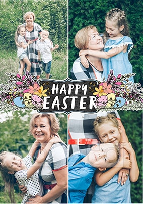 Happy Easter Blossom Eggs Multi Photo Card
