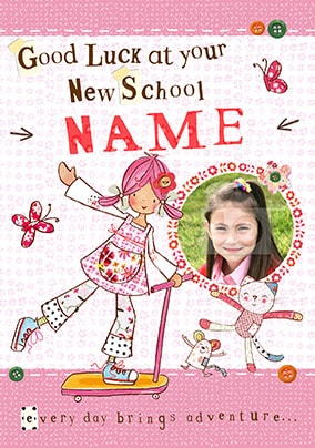 Personalised 1st First Day at School Card Nursery Button Card  Back To School