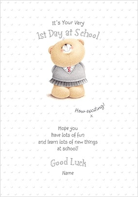 Girl's First Day At School Personalised Card