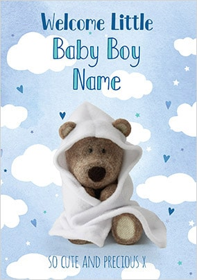 Barley Bear - Welcome Baby Boy Personalised Card