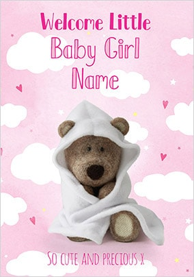 Barley Bear - Welcome Baby Girl Personalised Card