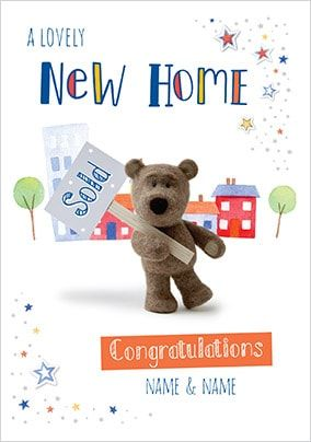 Barley Bear New Home Personalised Card