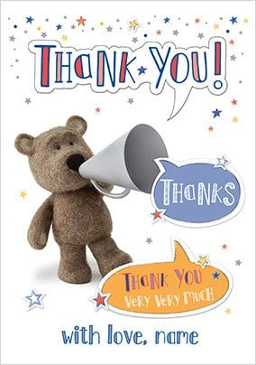 Barley Bear Thank You Personalised Card