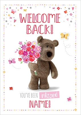 Barley Bear - Welcome Back Personalised Card