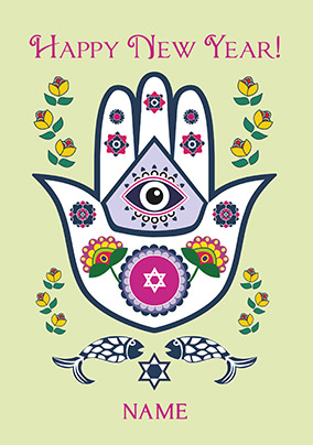 Happy New Year Hamsa Personalised Card