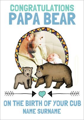 Look Who's Drawing - New Baby  Card Congrats Papa Bear