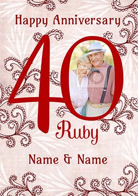 Merriment Anniversary Card 40th Photo Upload