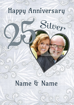 25th Silver Wedding Anniversary Cards