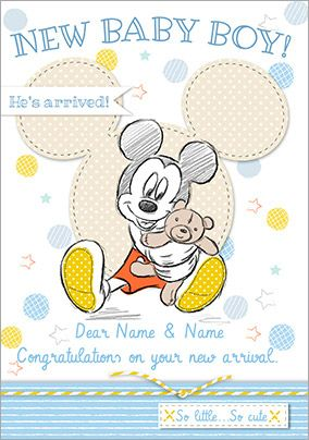 Disney Baby Mickey New Baby Card - Baby Boy Congrats